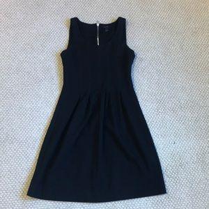 J Crew Black Pleated Dress W/ Silver Zipper 2P